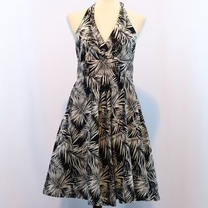 H&M Black White Tropical Printed Halter Dress